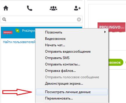 Посмотреть данные о пользователе скайпа